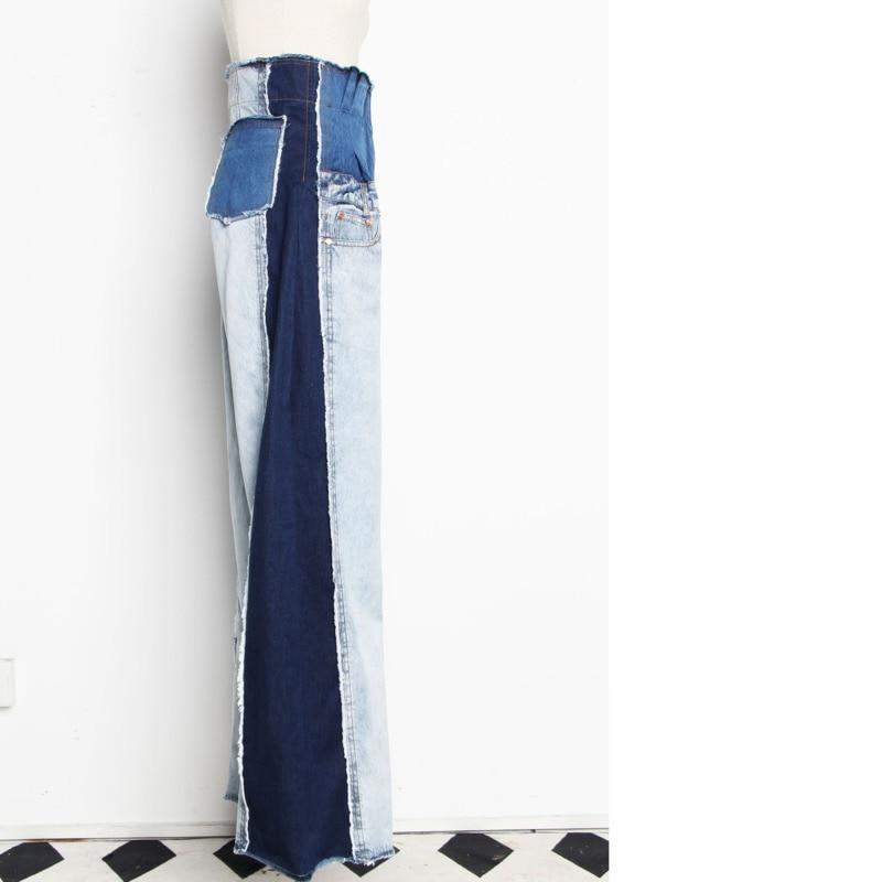 Denim Pocket Blue Long Wide Leg Jeans Women Trousers - missodd.com