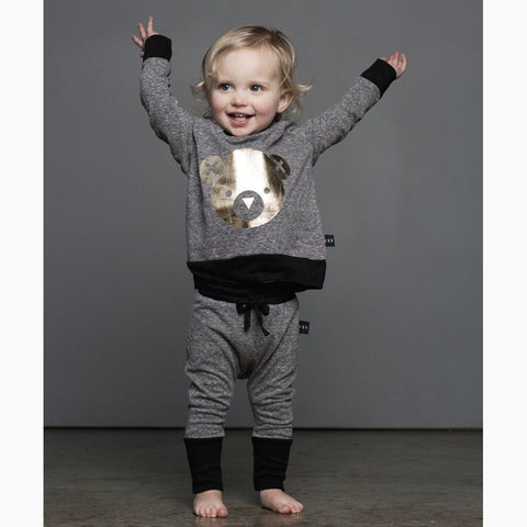 GRAY BEAR OUTFIT (2PC SET) - Elsa Bella Baby
