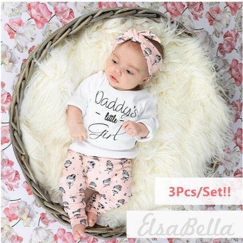 Image of DADDY'S LITTLE GIRL OUTFIT (3PC SET) - Elsa Bella Baby