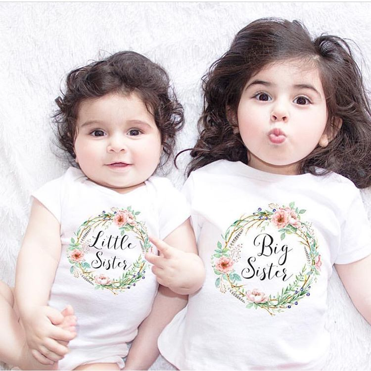 BIG SIS & LIL SIS T-SHIRT AND ONESIES (FLOWER) - Elsa Bella Baby
