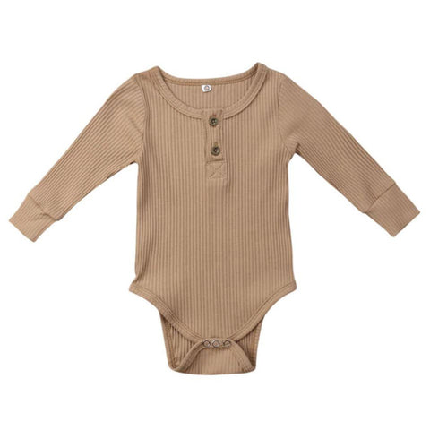 Image of Paige Ribbed Henley Romper