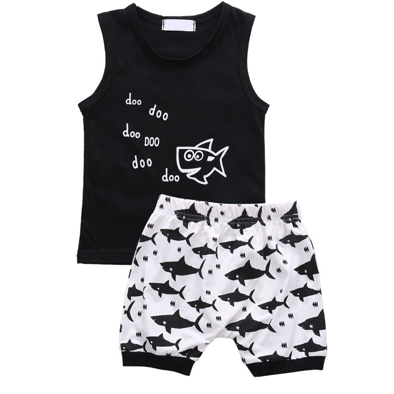SHARK T-SHIRT AND SHORTS OUTFIT (2PC SET) - Elsa Bella Baby