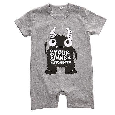 Image of MONSTER PRINT ROMPER (3 DESIGNS)