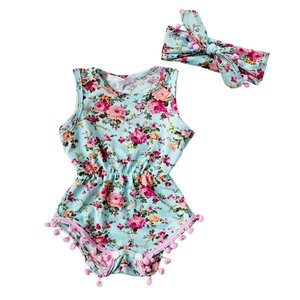 c7726095678d THE FLORAL POM POM ROMPER   HEADBAND OUTFIT (2PC SET)