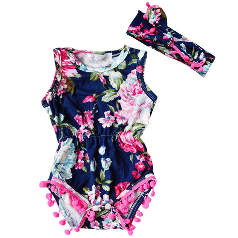 THE FLORAL POM POM ROMPER & HEADBAND OUTFIT (2PC SET) - Elsa Bella Baby
