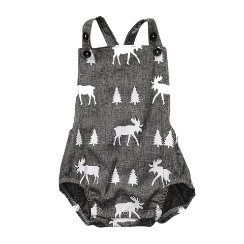 Image of GRAY MOOSE OVERALL ROMPER - Elsa Bella Baby