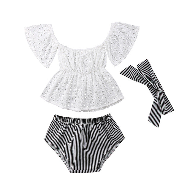 Chloe Bowknot Romper (3-pieces)