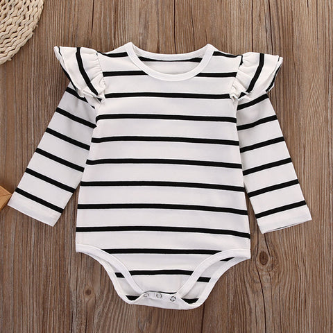 Image of EVERLY STRIPED LONG SLEEVE ROMPER - Elsa Bella Baby