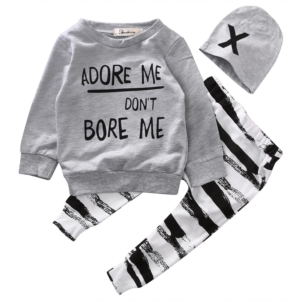 ADORE ME DON'T BORE ME OUTFIT (3PC SET) - Elsa Bella Baby