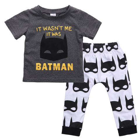 Image of IT WASN'T ME, IT WAS BATMAN OUTFIT (2PC SET) - Elsa Bella Baby