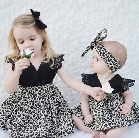 Image of Beatrice Black Leopard Dress (Big Sis & Little Sis)