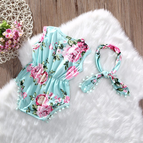 Image of ROSE FLORAL ROMPER OUTFIT (2PC SET) - MORE COLORS - Elsa Bella Baby