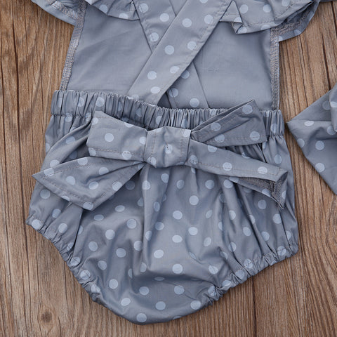 Image of ALA MOANA GRAY POLKA ROMPER OUTFIT (2PC SET) - Elsa Bella Baby