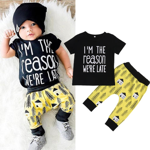 Image of I'M THE REASON WE'RE LATE OUTFIT (2PC SET) - Elsa Bella Baby