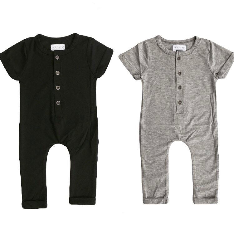 Black and Gray Rompers and Bodysuits for Kids