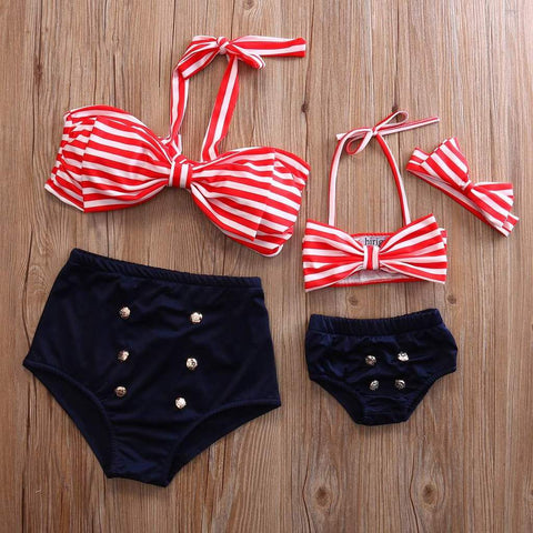 MOMMY & ME HIGH WAISTED SWIMMING SUIT (RED STRIPE)