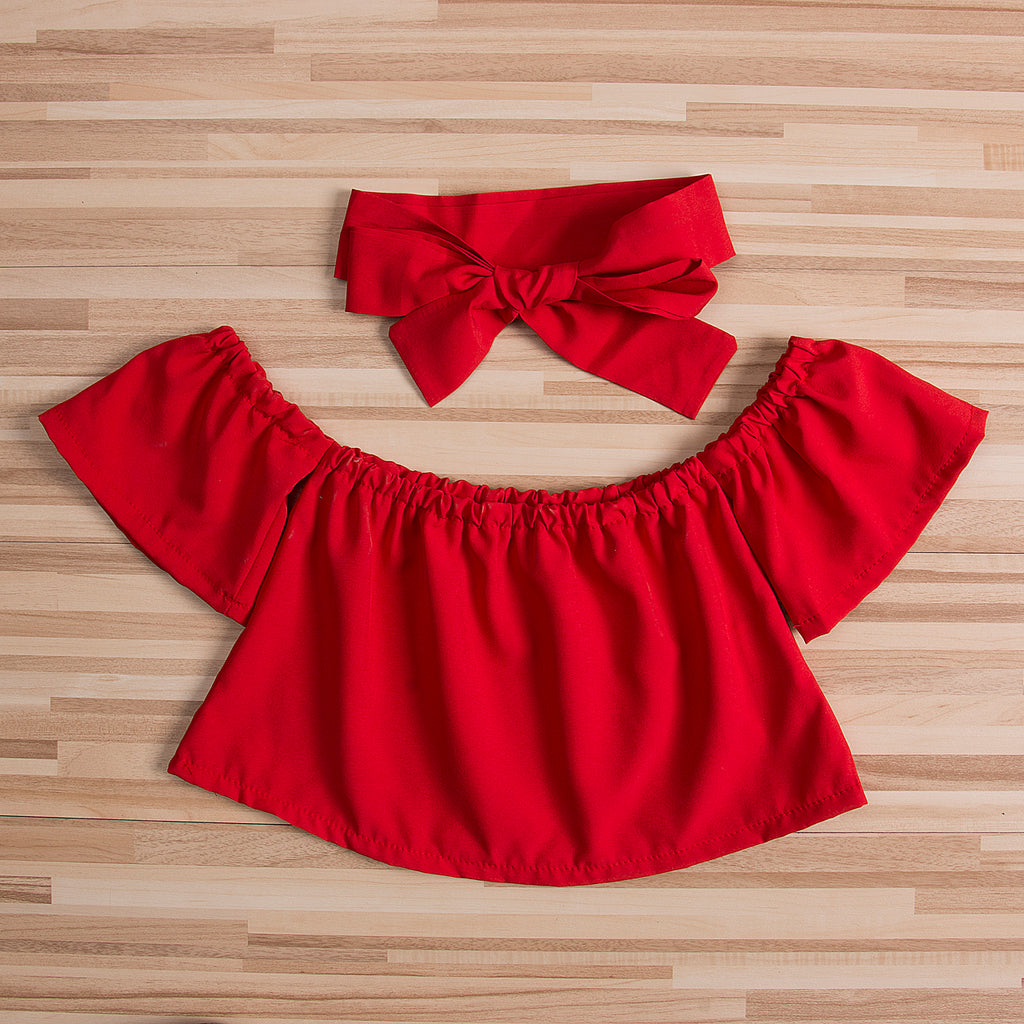 OLIVIA OFF-SHOULDER TOP WITH HEADBAND OUTFIT (2PC SET - MORE COLORS)