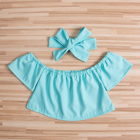 Image of OLIVIA OFF-SHOULDER TOP WITH HEADBAND OUTFIT (2PC SET - MORE COLORS)
