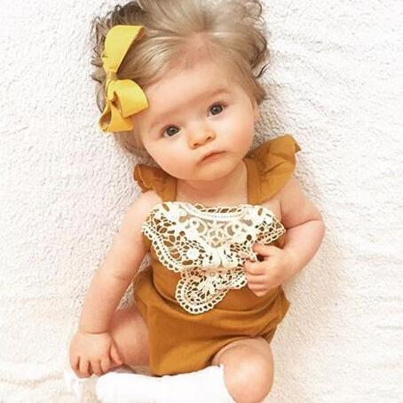Image of DIANA LACE SLEEVELESS ROMPER OUTFIT (2PC SET) - Elsa Bella Baby