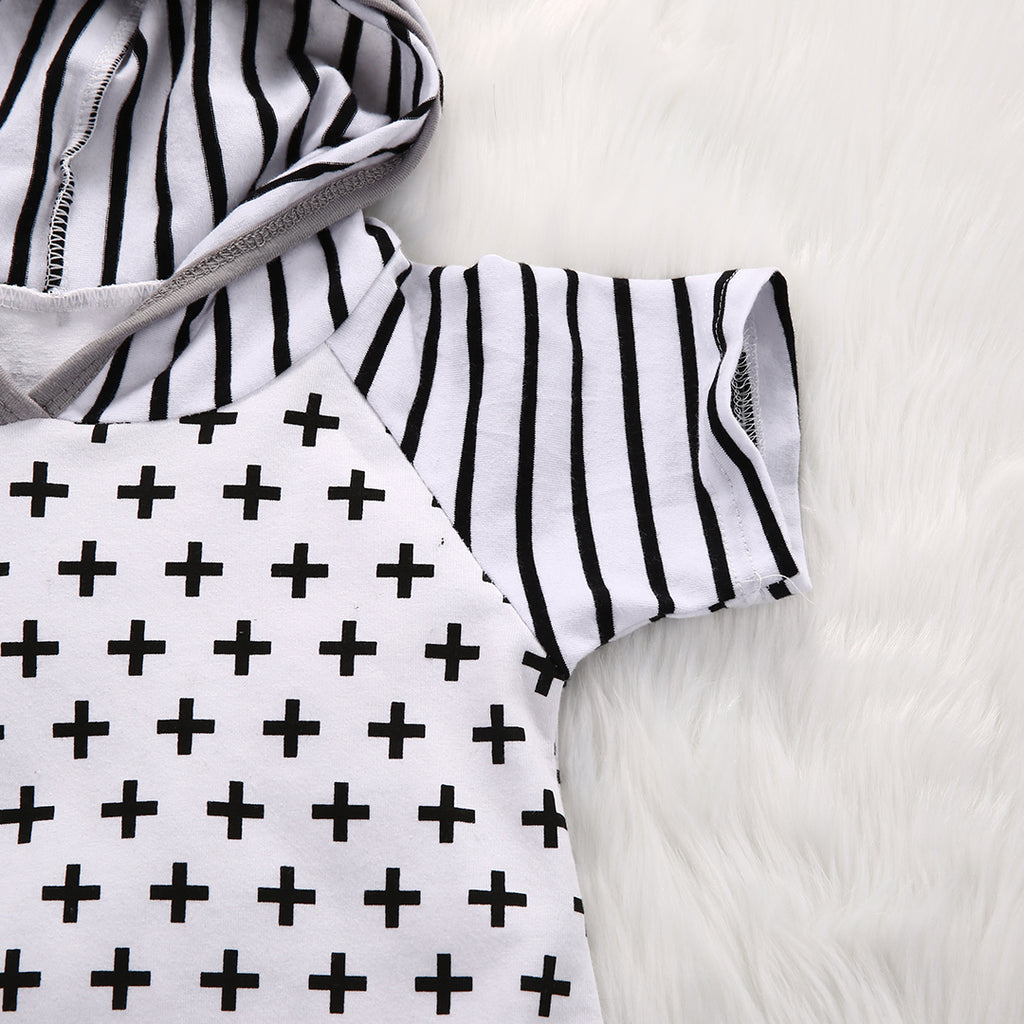 Sammy Striped + Cross Jumpsuit - Elsa Bella Baby