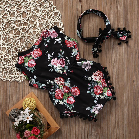 Image of BLACK FLORAL ROMPER OUTFIT (2PC SET) - Elsa Bella Baby