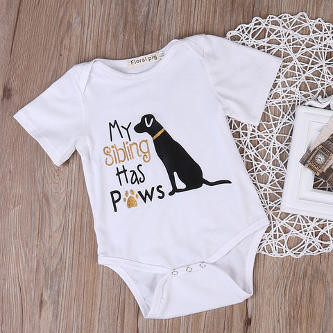 Image of MY SIBLING HAS PAWS ROMPER