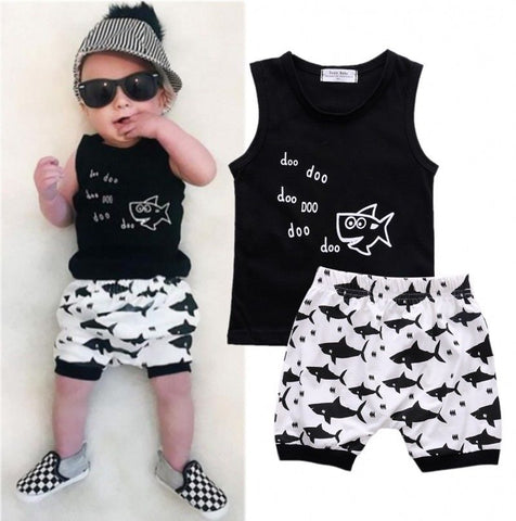 Image of SHARK T-SHIRT AND SHORTS OUTFIT (2PC SET) - Elsa Bella Baby