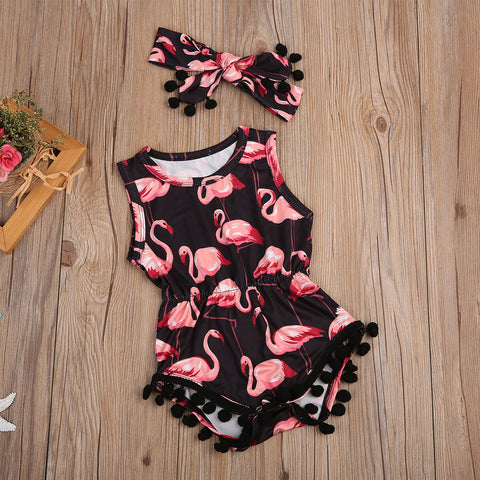 FLAMINGO TASSEL & HEADBAND ROMPER OUTFIT (2PC SET) - Elsa Bella Baby