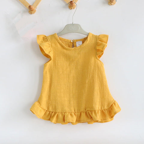 Image of RUFFLE SHORT SLEEVE SUMMER BLOUSE (MORE COLORS) - Elsa Bella Baby