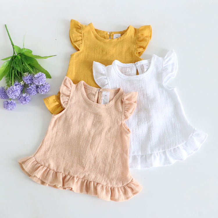 RUFFLE SHORT SLEEVE SUMMER BLOUSE (MORE COLORS) - Elsa Bella Baby