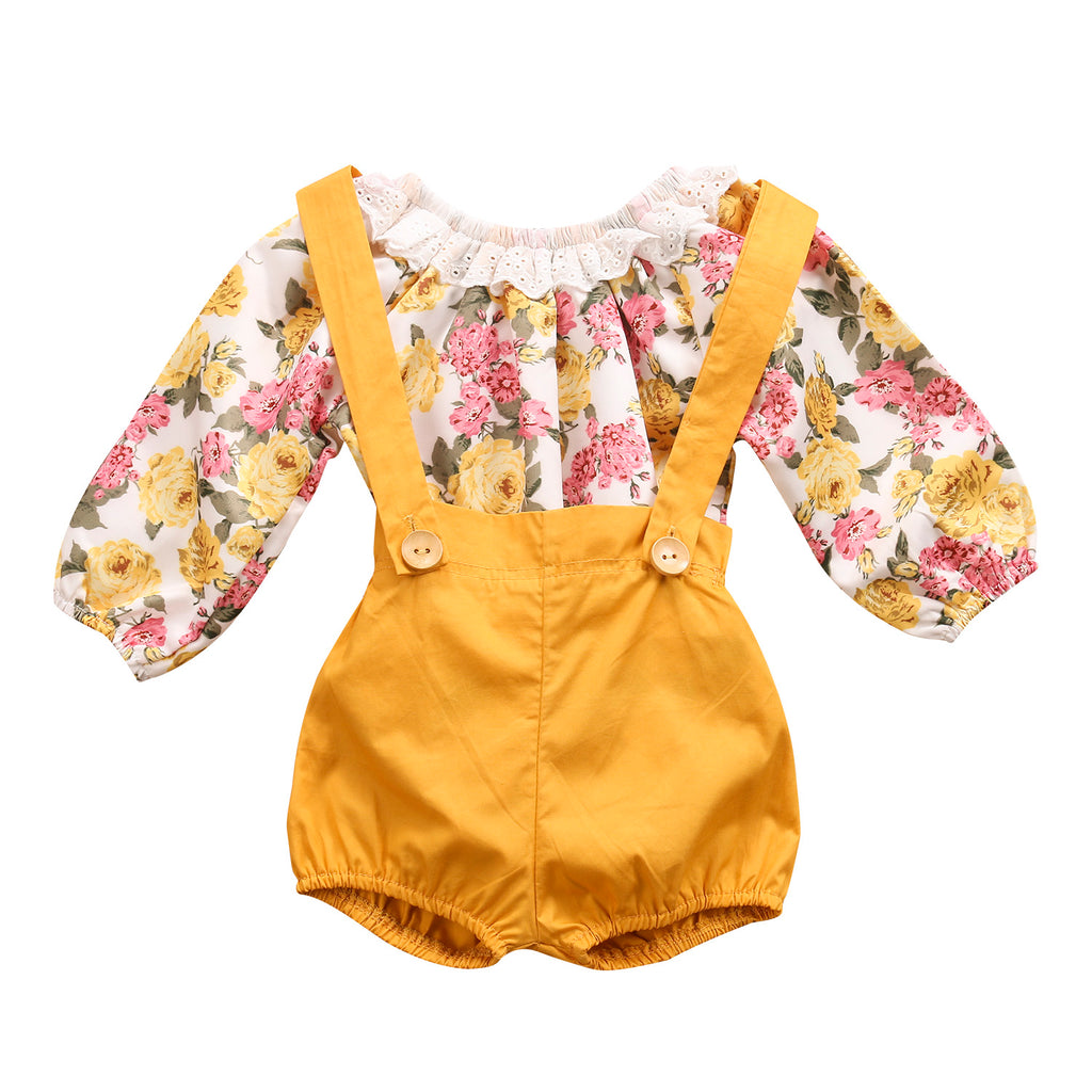 CHLOE FLORAL LONG SLEEVE ROMPER AND SUSPENDER SHORTS OUTFIT (2PC SET) - Elsa Bella Baby