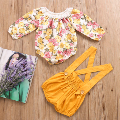 Image of CHLOE FLORAL LONG SLEEVE ROMPER AND SUSPENDER SHORTS OUTFIT (2PC SET) - Elsa Bella Baby