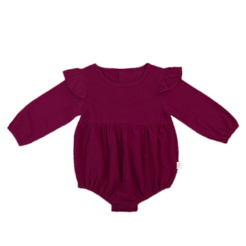 Burgundy long-sleeve baby girl romper