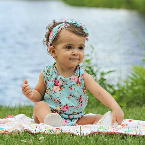 Image of THE FLORAL POM POM ROMPER & HEADBAND OUTFIT (2PC SET) - Elsa Bella Baby