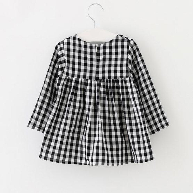 CHARLOTTE LONG SLEEVE PLAID CASUAL DRESS - Elsa Bella Baby