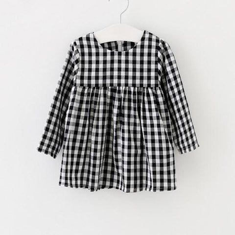 Image of CHARLOTTE LONG SLEEVE PLAID CASUAL DRESS - Elsa Bella Baby