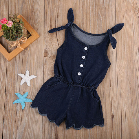 BAILEY DENIM ROMPER DRESS - Elsa Bella Baby