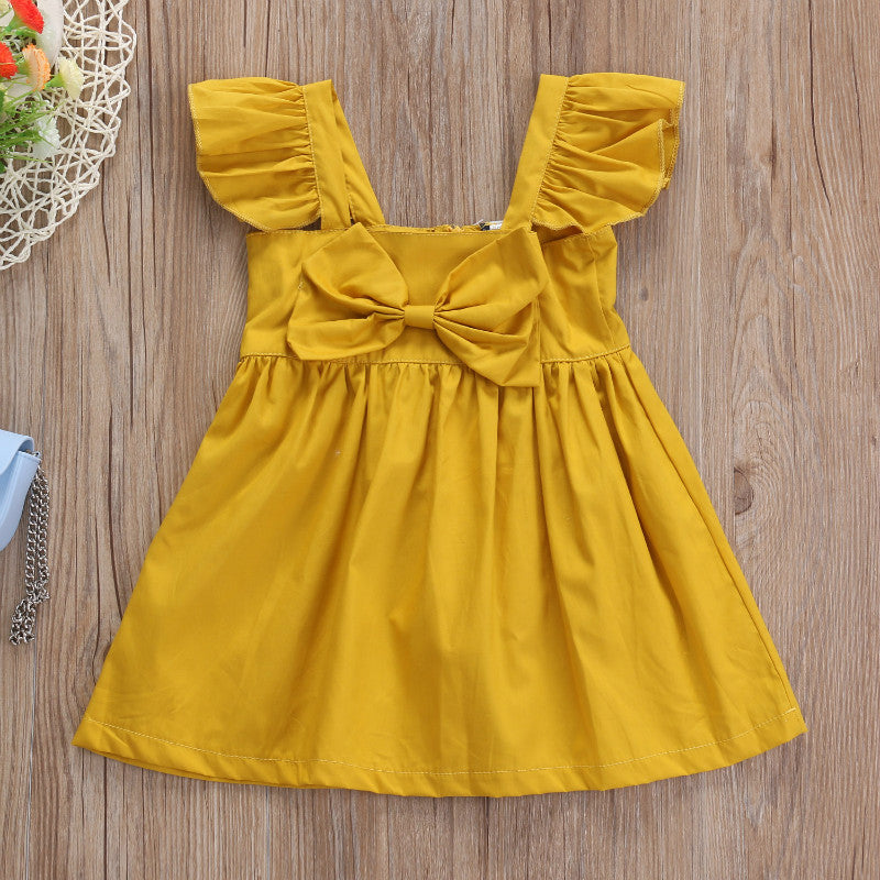 DAHLIA RUFFLE SLEEVES YELLOW DRESS - Elsa Bella Baby