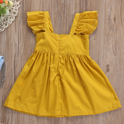 Image of DAHLIA RUFFLE SLEEVES YELLOW DRESS - Elsa Bella Baby