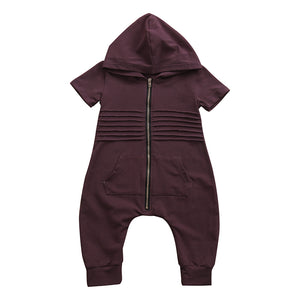 JACKIE HOODED ZIPPER JUMPSUIT - Elsa Bella Baby