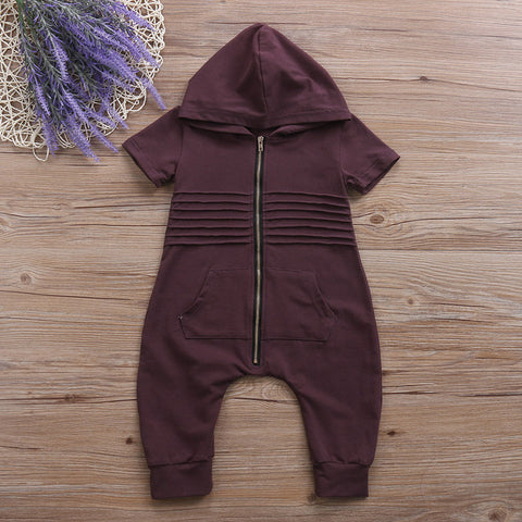 Image of JACKIE HOODED ZIPPER JUMPSUIT - Elsa Bella Baby