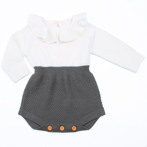 Image of Carol Knitted Romper (Gray) - Elsa Bella Baby