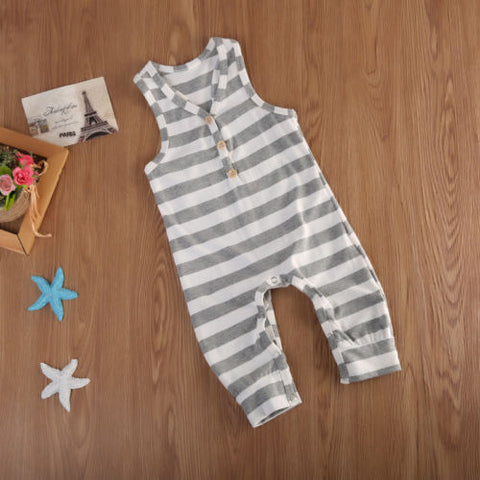 Image of STRIPED SLEEVELESS ROMPER/BODYSUIT - Elsa Bella Baby
