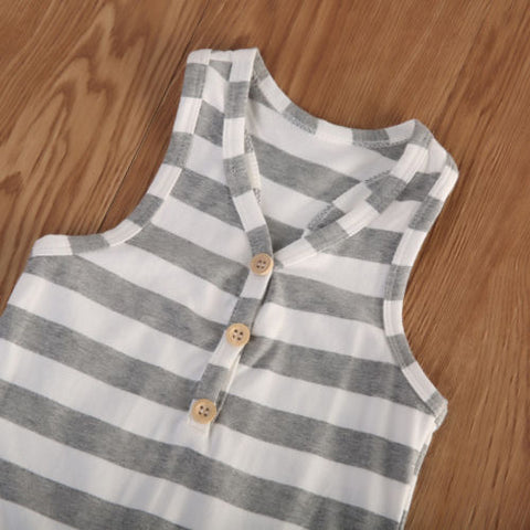 STRIPED SLEEVELESS ROMPER/BODYSUIT - Elsa Bella Baby