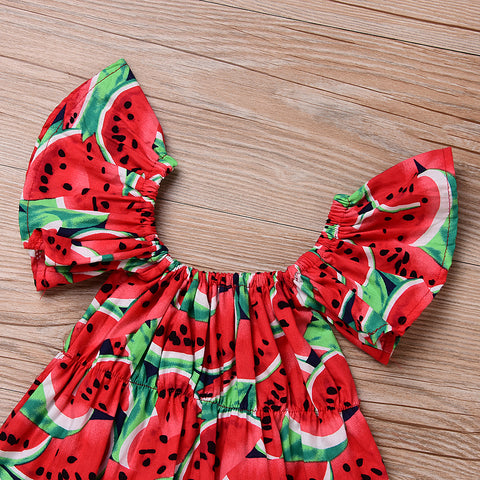 Image of WILLOW WATERMELON LOVE ROMPER OUTFIT (2PC SET) - Elsa Bella Baby
