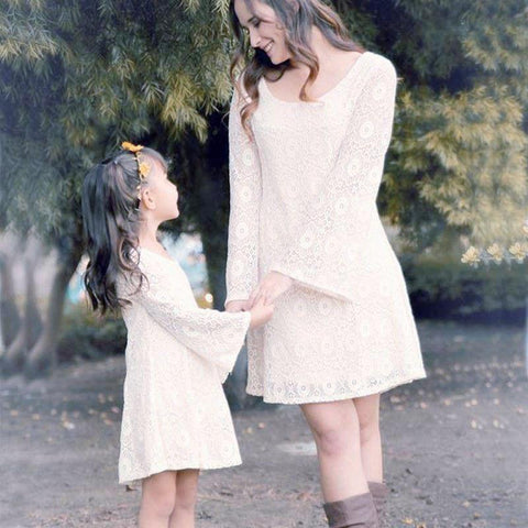 MOMMY + ME - AMBER MATCHING LACE FLORAL DRESS