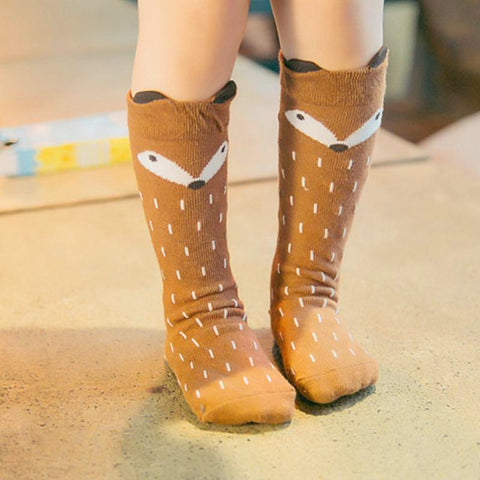 FOX KNEE HIGH SOCKS - FOR AGES 1-6 YRS OLD - Elsa Bella Baby