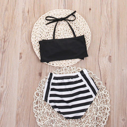HIGH WAISTED STRIPED SWIMSUIT - Elsa Bella Baby