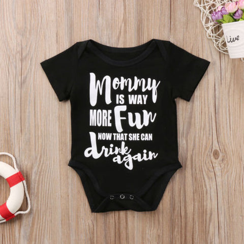 Image of MOMMY IS MORE FUN WITH DRINKS ROMPER