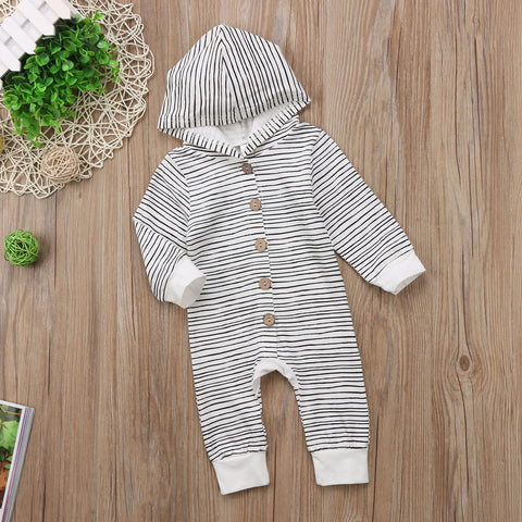 BUTTONED STRIPE-HOODED JUMPSUIT - Elsa Bella Baby
